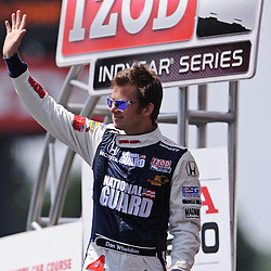 Panther Racing's Dan Wheldon during driver introductions for the 2010 Honda Indy 200 at Mid-Ohio Sports Car Course in Lexington, OH.