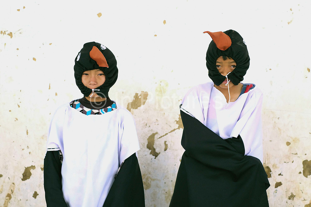Children from Bayta Primary School dressed as a crane before performing the Black-necked Crane dance 'Ngachey Thrung Thrung Detshu' at the Black-necked Crane Festival at Gangte Goemba, Phobjikha Valley, Bhutan. Every year on November 11th, the local community hosts the festival at Gangte Goemba, to highlight the cranes significance to the valley. Phobjikha Valley is the most significant overwintering ground of the rare and endangered Black-necked Crane in Bhutan.