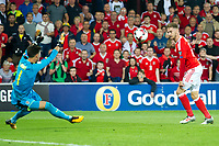 Football - 2017 / 2018 _Wales v Austria_FIFA World Cup Qualifier 2018<br /> <br /> Aaron Ramsey of Wales heads at goal--- at Cardiff City Stadium.<br /> <br /> COLORSPORT/WINSTON BYNORTH