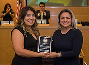 Miriam Soto is recognized as Employee of the Month by Sandra Menxueiro during the Houston ISD Board of Trustee meeting, November 10, 2016.