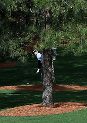 Brendan Steele hits from behind a tree along the 7th fairway during first-round action of the Masters Tournament at Augusta National Golf Club on Thursday, April 6, 2017, in Augusta, Ga. Steele finished the round at +2. (Photo by Jeff Siner/Charlotte Observer/TNS) *** Please Use Credit from Credit Field ***