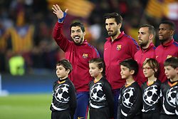 December 5, 2017 - Barcelona, Catalonia, Spain - LUIS SUAREZ of FC Barcelona gestures during the line up ahead of the UEFA Champions League, Group D football match between FC Barcelona and Sporting CP on December 5, 2017 at Camp Nou stadium in Barcelona, Spain. (Credit Image: © Manuel Blondeau via ZUMA Wire)