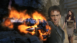 RELEASED DATE: Feb 14, 2007. STUDIO: Columbia Pictures. PLOT: Based on the Marvel character, stunt motorcyclist Johnny Blaze gives up his soul to become a hellblazing vigilante, to fight against power hungry Blackheart, the son of the devil himself. PICTURED: NICOLAS CAGE (foreground) and EVA MENDES (right, background). (Credit Image: © Entertainment Pictures/Entertainment Pictures/ZUMAPRESS.com)