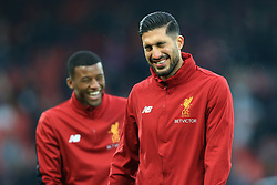 10th December 2017 - Premier League - Liverpool v Everton - Emre Can of Liverpool (R) and teammate Georginio Wijnaldum laugh during the warm-up - Photo: Simon Stacpoole / Offside.