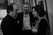 JAMES NAUGHTIE; RORY BREMNER; KIRSTY WARK The Walter Scott Prize for Historical Fiction 2015 - The Duke of Buccleuch hosts party to for the shortlist announcement. <br /> The winner is announced at the Borders Book Festival in Scotland in June.John Murray's Historic Rooms, 50 Albemarle Street, London, 24 March 2015.