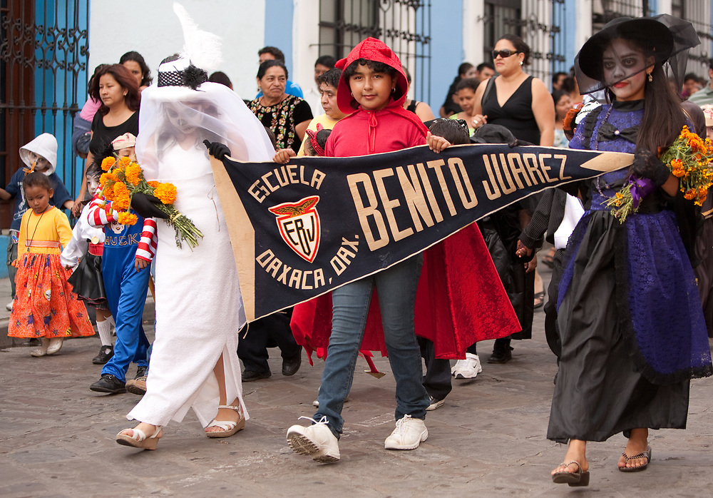 North America, Mexico, Oaxaca Province, Oaxaca, Parade of children in costumes for Day of the Dead (Dias de los Muertos) celebration