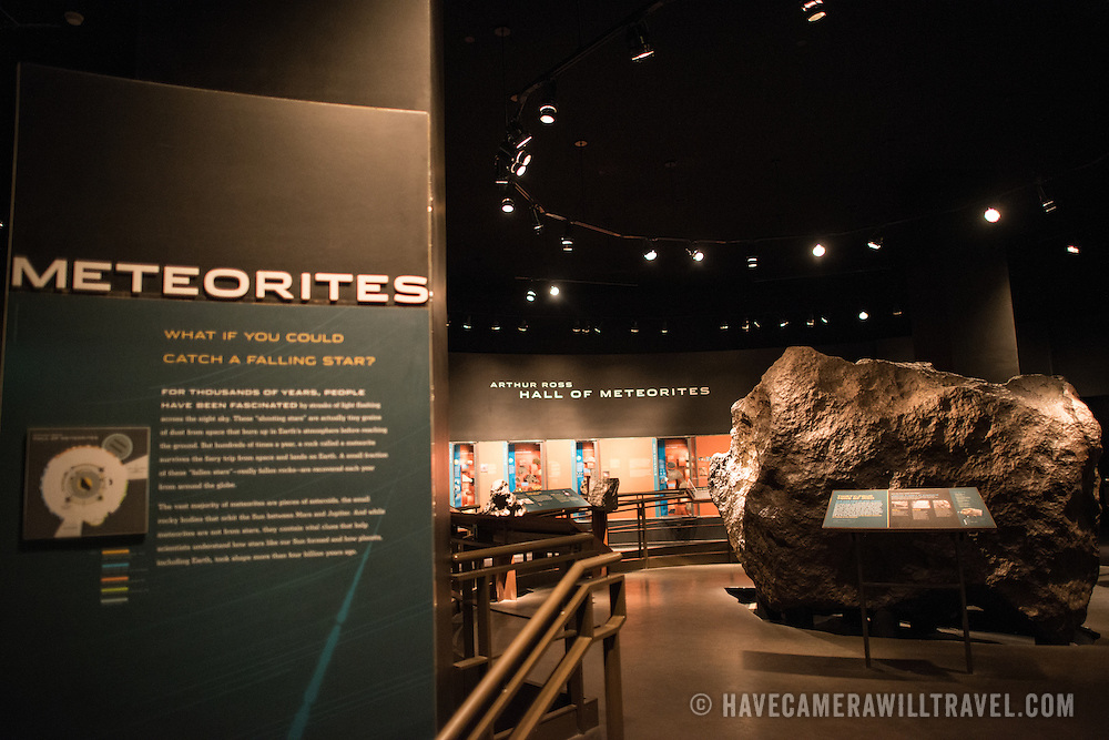 Meteorites exhibit at the Museum of Natural History in New York's Upper West Side neighborhood, adjacent to Central Park.