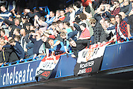 Manchester United away supporters chanting during the first half. Barclays Premier league match, Chelsea v Manchester Utd at Stamford Bridge Stadium in London on Saturday 18th April 2015.<br /> pic by John Patrick Fletcher, Andrew Orchard sports photography.