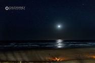 Bonfires on beach in Cannon Beach, Oregon, USA