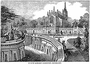 North London Cemetery, Highgate. The Lebanon Catacombs, terrace and sepulchres built in the Egyptian architectural style popular at this time. Wood engraving 1838.