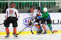 Nejc Stojan of HDD SIJ Acroni Jesenice and Crt Snoj of HK SZ Olimpija during ice hockey match between HK SZ Olimpija and HDD SIJ Acroni Jesenice in AHL - Alps Hockey League 2017/18, on October 25, 2017 in Hala Tivoli, Ljubljana, Slovenia. Photo by Matic Klansek Velej / Sportida