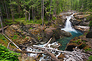 Silver Falls and the Ohanapecosh River in Mount Rainier National Park in Washington State, USA.