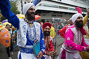 Sikh dancers in traditional costumes during the opening parade for the Birmingham Weekender Arts And Culture Festival on 23rd September 2017 in Birmingham, United Kingdom.