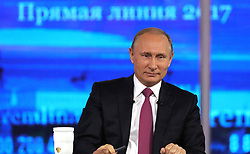 June 15, 2017 - Moscow, Russia - June 15, 2017. - Russia, Moscow. - Russian President Vladimir Putin at the Gostiny Dvor studio during the annual Direct Line with Vladimir Putin broadcast live by Russian TV channels and radio stations. (Credit Image: © Russian Look via ZUMA Wire)