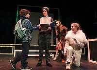 """Santiago McCulloch as Eric, Maggie A. Godsoe as Carter, Sophie Pankhurst as Colleen and Christa Walker as Jimmy during dress rehearsal for """"Boy Who Drew Cats"""" at the Winnipesaukee Playhouse on Wednesday evening.  (Karen Bobotas/for the Laconia Daily Sun)"""