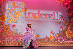 © Licensed to London News Pictures. 01/12/2014. London, England. In true Dallas-style, Linda Gray wears a pink Stetson and pink cowboy boots. Photocall with Dallas-actress Linda Gray who makes her pantomime debut playing the Fairy Godmother in Cinderella at the New Wimbledon Theatre from 5 December 2014 to 11 January 2015. The cast included Tim Vine, Matthew Kelly and Wayne Sleep. Photo credit: Bettina Strenske/LNP