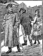 A cartoon apparently expressing a rather sour German point of view on the British-French 'Entente Cordiale' of 1904 -- John Bull walks off with the trollop France (in her scandalously short tricolour skirt, whose red and blue colours are indicated by the conventions of heraldic 'hatching'), while Germany pretends not to care.