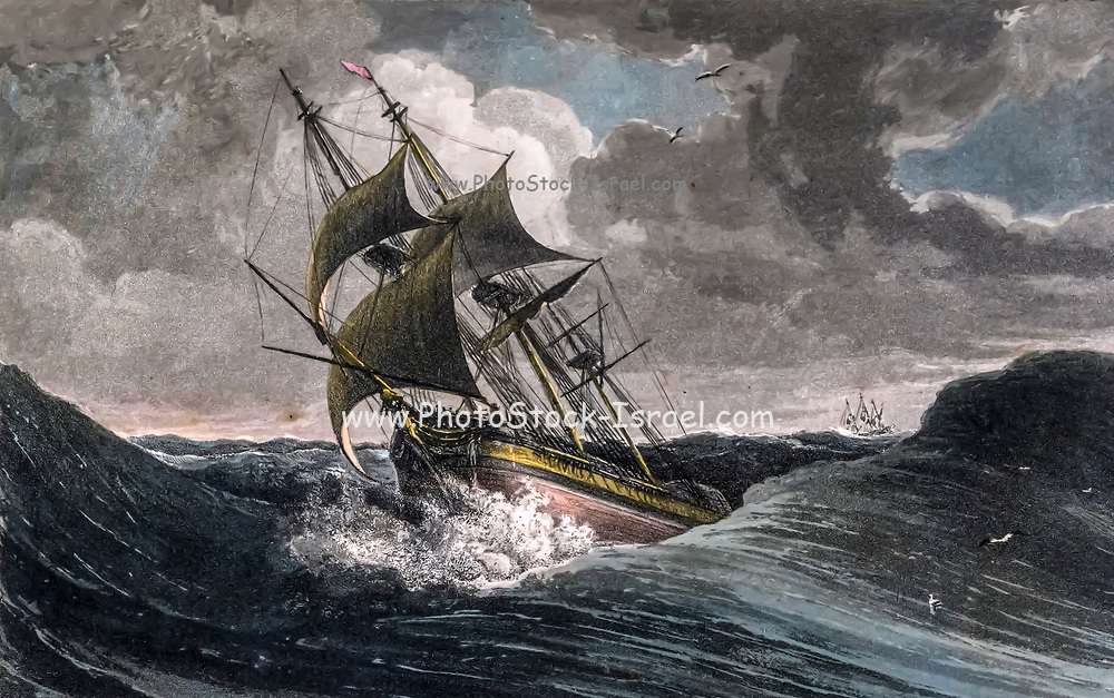 Digitally enhanced image of a GALE OFF THE CAPE OF GOOD HOPE colour print from the book ' A Picturesque Voyage to India by Way of China  ' by Thomas Daniell, R.A. and William Daniell, A.R.A. London : Printed for Longman, Hurst, Rees, and Orme, and William Daniell by Thomas Davison, 1810. The Daniells' original watercolors for the scenes depicted herein are now at the Yale Center for British Art, Department of Rare Books and Manuscripts,