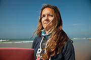 Ines Correia, at eighteen and in her first international championship became Kitewave World Champion. In the beach where she usualy trains, Costa da Caparica, Portugal. 29/01/2012 NO SALES IN PORTUGAL