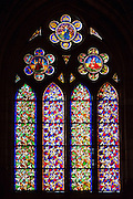 Stained glass window in Cathedral de Santa Maria de Leon in Leon, Castilla y Leon, Spain