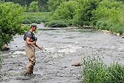 Fishing the Willow River, near Burkhardt, Wisconsin