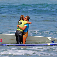 Cori Schumacher and Jen Smith, finalist winners of the 3rd Annual Roxy Jam Linda Benson Women's World Longboard Professional, 2008. Cardiff by the Sea, California.