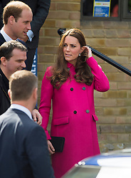 © London News Pictures. 27/03/2015. Prince William and a heavily pregnant Catherine, Duchess of Cambridge leaving following a visit at youth charity XLP (The eXceL Project) at Christ Church in Gipsy Hill, south London on March 27, 2015. Photo credit: Ben Cawthra/LNP