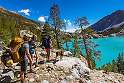 Backpackers at Second Lake under the Palisades, John Muir Wilderness, California USA