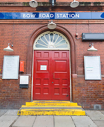 © Licensed to London News Pictures. 19/03/2020. London, UK. Bow Road tube station in London seen closed this morning. Transport for London (TfL) are closing a number of underground stations from today, as partial closure of the tube and rail network begins in response to the growing coronavirus outbreak in the captial. Photo credit: Vickie Flores/LNP