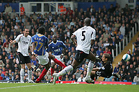 Photo: Lee Earle.<br /> Portsmouth v Bolton Wanderers. The FA Barclays Premiership. 18/08/2007.Portsmouth's Kanu(27) scores their first goal.
