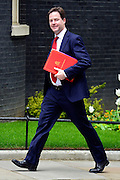 © Licensed to London News Pictures. 21/05/2013. Westminster, UK. Nick Clegg, Liberal Democrat MP, Deputy Prime Minister. Ministers arrive for a Cabinet meeting at Downing Street today 21 May 2013. Photo credit : Stephen Simpson/LNP