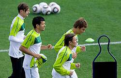 Milivoje Novakovic, Aleksander Radosavljevic, Zlatko Dedic and Nejc Pecnik of Slovenia during a training session at  Hyde Park High School Stadium on June 10, 2010 in Johannesburg, South Africa.  (Photo by Vid Ponikvar / Sportida)