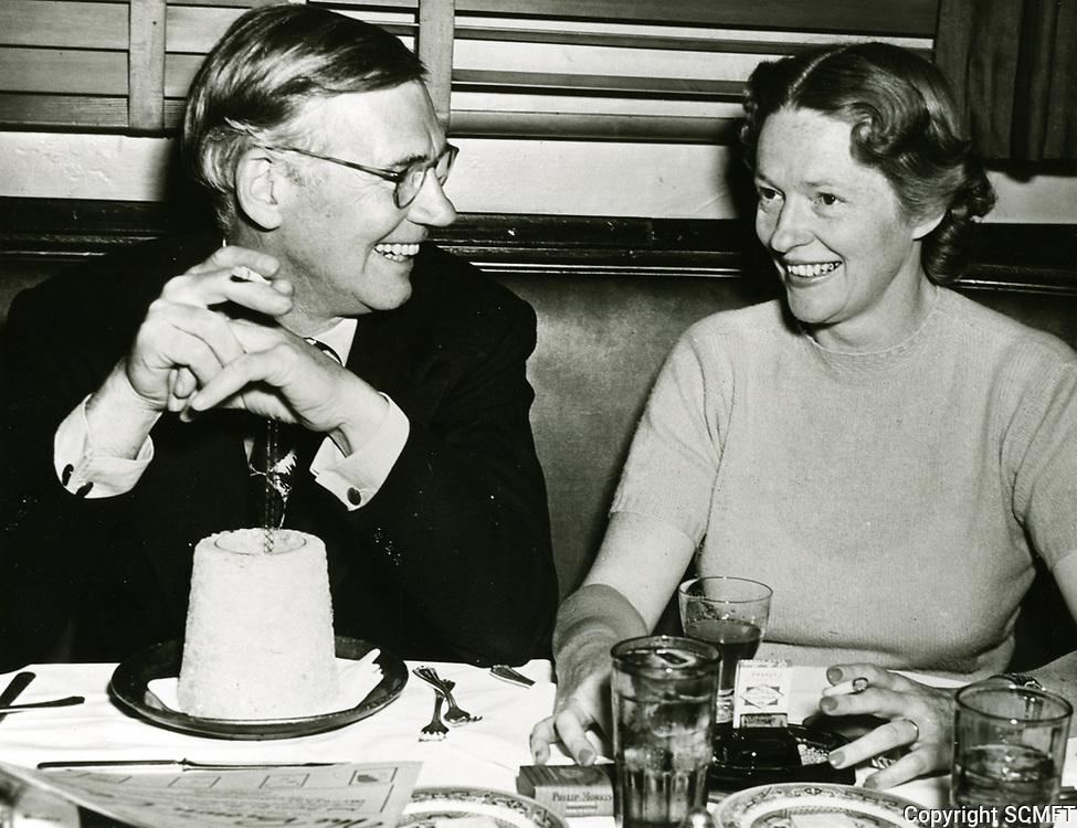 1942 Mr. & Mrs. Walter Huston at the Brown Derby Restaurant on Vine St.