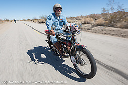 Frank Westphall of New York riding his 4-cylinder 1912 Henderson class-2 bike during the Motorcycle Cannonball Race of the Century. Stage-14 ride from Lake Havasu CIty, AZ to Palm Desert, CA. USA. Saturday September 24, 2016. Photography ©2016 Michael Lichter.