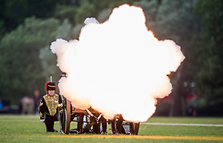 © Licensed to London News Pictures. 02/06/2015. London, UK. The King's Troop Royal Horse Artillery stage a 41 Gun Royal Salute in Hyde Park, London to mark the 62nd anniversary of the coronation of Queen Elizabeth II. Photo credit: Sergeant Rupert Frere RLC