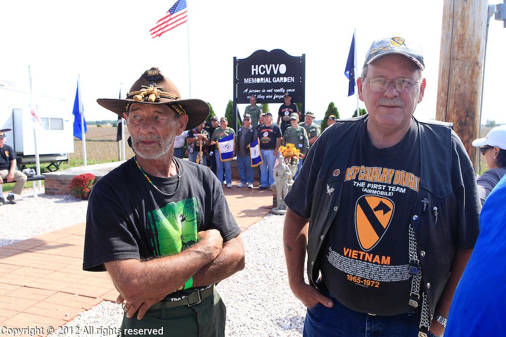 Kokomo Indiana Vietnam Veterans Reunion 2012 1/9th CAV veterans, Jerry Hogan, left, and Floyd Franks