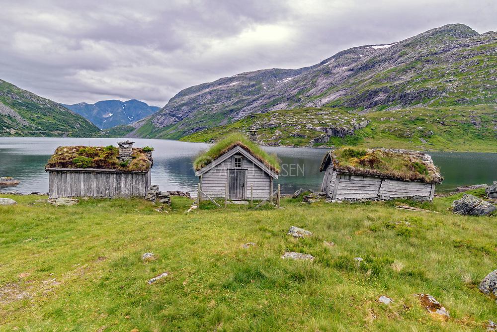 Old farm houses at Nystölvatnet, Sogndal (Vestland county), Norway in July.