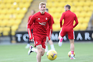 Aberdeen's Dean Campbell (24) warming up during the Scottish Premiership match between Livingston and Aberdeen at Tony Macaroni Arena, Livingstone, Scotland on 1 May 2021.