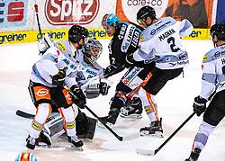 21.02.2020, Keine Sorgen Eisarena, Linz, AUT, EBEL, EHC Liwest Black Wings Linz vs Dornbirn Bulldogs, Zwischenrunde, 7. Qualifikationsrunde, im Bild v.l. Charles Robin Gartner (Dornbirn Bulldogs), Tormann Juha Rasmus Rinne (Dornbirn Bulldogs), Brian Lebler (EHC Liwest Black Wings Linz), Olivier Magnan (Dornbirn Bulldogs) // during the Erste Bank Eishockey League Intermediate round, 7th qualifying round match between EHC Liwest Black Wings Linz and Dornbirn Bulldogs at the Keine Sorgen Eisarena in Linz, Austria on 2020/02/21. EXPA Pictures © 2020, PhotoCredit: EXPA/ Reinhard Eisenbauer
