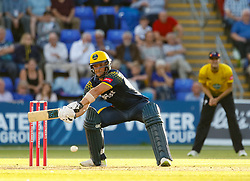 Glamorgan's Craig Meschede stretches to reach the ball<br /> <br /> Photographer Simon King/Replay Images<br /> <br /> Vitality Blast T20 - Round 8 - Glamorgan v Gloucestershire - Friday 3rd August 2018 - Sophia Gardens - Cardiff<br /> <br /> World Copyright © Replay Images . All rights reserved. info@replayimages.co.uk - http://replayimages.co.uk