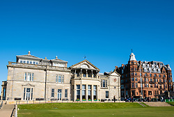 Exterior view of the club house of The Royal and Ancient Golf Club (R&A) and Hamilton Grand apartment building beside Old Course in St Andrews, Fife, Scotland, UK.