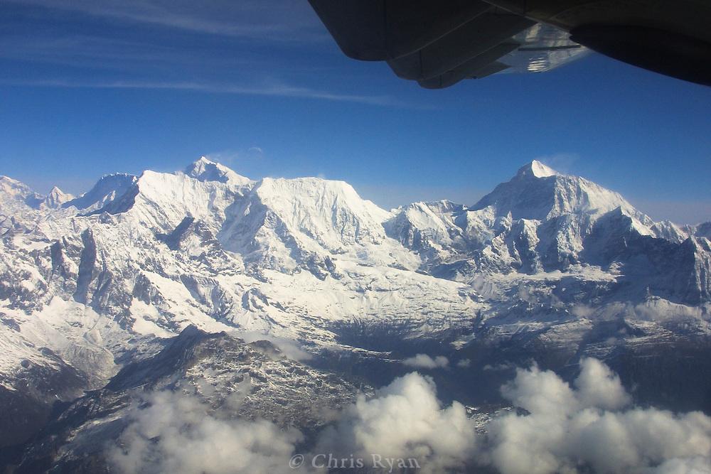 Prop plane flight over the Himalayas, Nepal