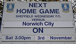 A general view of a sign outside the ground before the Sky Bet Championship game between Sheffield Wednesday and Norwich City.