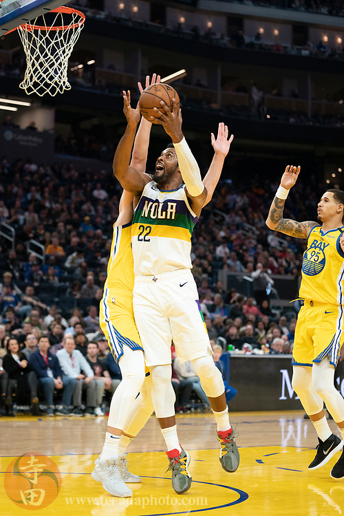 February 23, 2020; San Francisco, California, USA; New Orleans Pelicans center Derrick Favors (22) shoots the basketball during the third quarter against the Golden State Warriors at Chase Center.