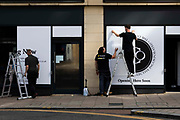 Contractors prepare the shop front for The Collective Incorporated, an interior design and cafe-bar hybrid opening on Boar Lane this year on 2nd September, 2021 in Leeds, United Kingdom.