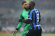 Gianluigi Donnarumma of AC Milan clashes with Romelu Lukaku of Inter during the Serie A match at Giuseppe Meazza, Milan. Picture date: 9th February 2020. Picture credit should read: Jonathan Moscrop/Sportimage
