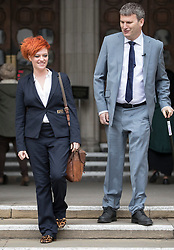 © Licensed to London News Pictures. 10/3/2017. London, UK. Food blogger Jack Monroe leaves the High Court with her solicitor Mark Lewis.  Jack Monroe has won £24,000 in her claim for libel damages after 'serious harm' was caused over tweets from the Daily Mail columnist Katie Hopkins - who also has to pay £24,000 in costs. Photo credit: Peter Macdiarmid/LNP