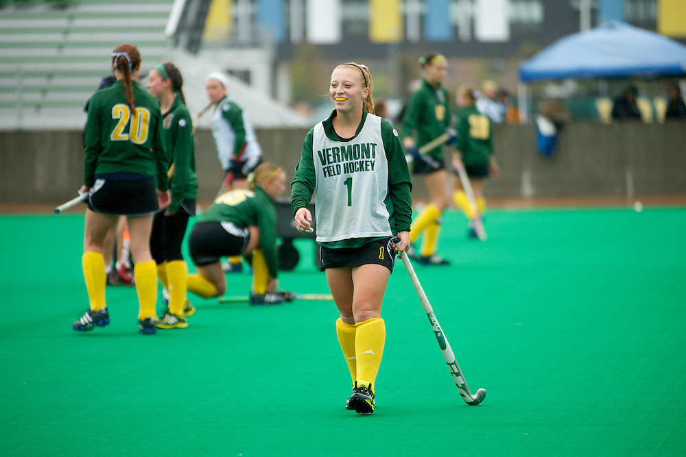Catamounts forward Ashley McDonald (1) during practice before the start of the women's field hockey game between the Maine Black Bears and the Vermont Catamounts at Moulton/Winder Field on Saturday afternoon September 29, 2012 in Burlington, Vermont.