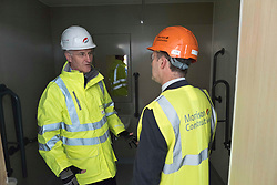 Pictured: Michael Matheson and Morrison Construction's project Director Phil Galbraith check out one of the ensuite facilities<br /> <br /> Infrastructure Secretary Michael Matheson visited East Lothian Community Hospital's construction site today to give an update on the Scottish Government's infrastructure programme, on the same day as an annual progress report is published<br /> <br /> Ger Harley | EEm 17 April 2019