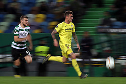 February 14, 2019 - Lisbon, Portugal - Villarreal's forward Dani Raba (R ) vies with Sporting's defender Stefan Ristovsk from Macedonia during the UEFA Europa League Round of 32 First Leg football match Sporting CP vs Villarreal CF at Alvalade stadium in Lisbon, Portugal on February 14, 2019. (Credit Image: © Pedro Fiuza/NurPhoto via ZUMA Press)